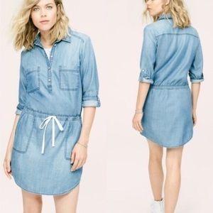 Lou & Grey long sleeve chambray shirt dress